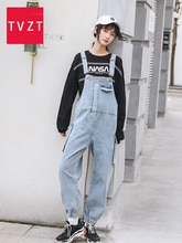 TVZT 2020 grande taille jean femme jean suspendu jeansuit jambe large cowboy barboteuses grande taille hip hop bretelles goutte entrejambe jean