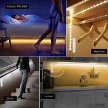 Smart allumer OFF PIR détecteur de mouvement LED bande lumière flexible adhésif lampe bande pour placard escaliers armoires de cuisine blanc chaud