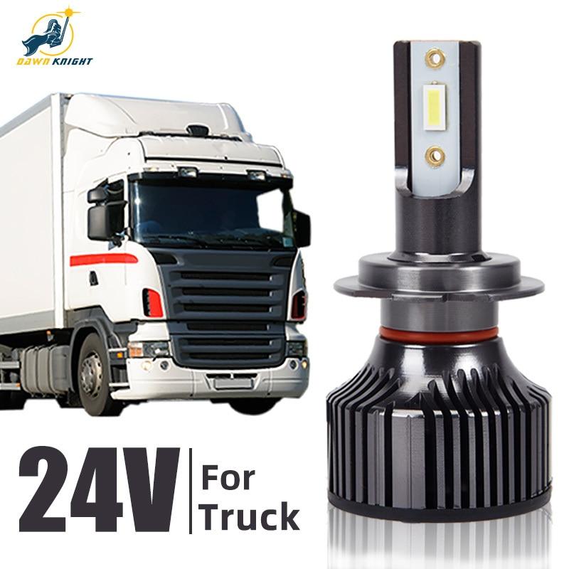 24V Led لمبة الشعاع المنخفض للشاحنة ، مصباح شاحنة Led عالي الشعاع ، 24V ، 6000K ، H4 ، H7 ، H1 ، H3 ، H11 ، 2 قطعة