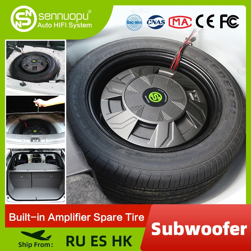 AliExpress - Sennuopu Car Subwoofer Class AB Power Amplifier Bass Speakers Aluminum Box Active Sub Woofer Install on Spare Tire Audio System
