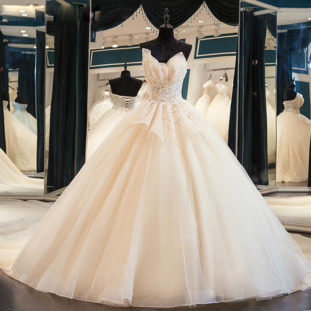 Новое поступление, блестящее великолепное бальное платье, свадебные платья с бисером, хрустальные цветы, Aliexpress, Логин Casamento