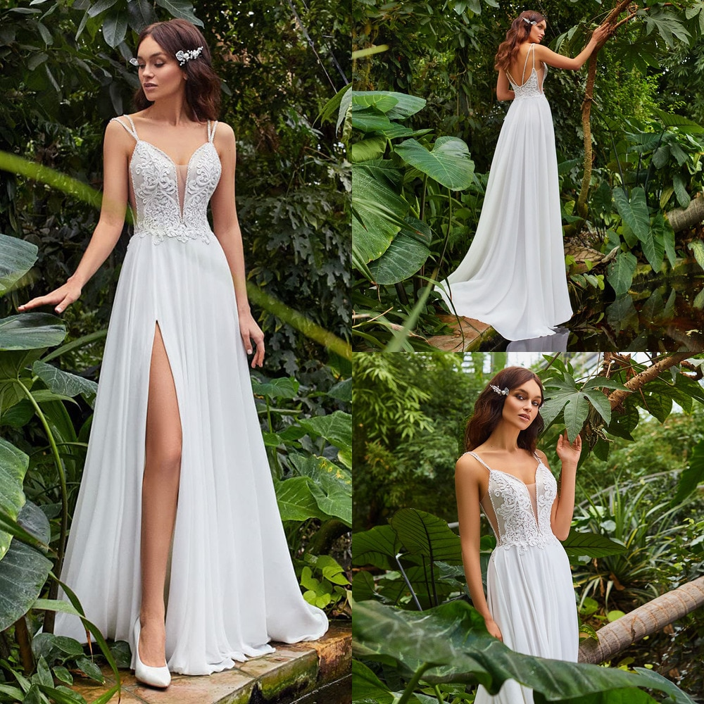 Sexy A Line Wedding Dress Boho Spaghetti Straps V-Neck Applique Chiffon Bridal Gown With Slit Свадебное Платье Vestido De Noiva
