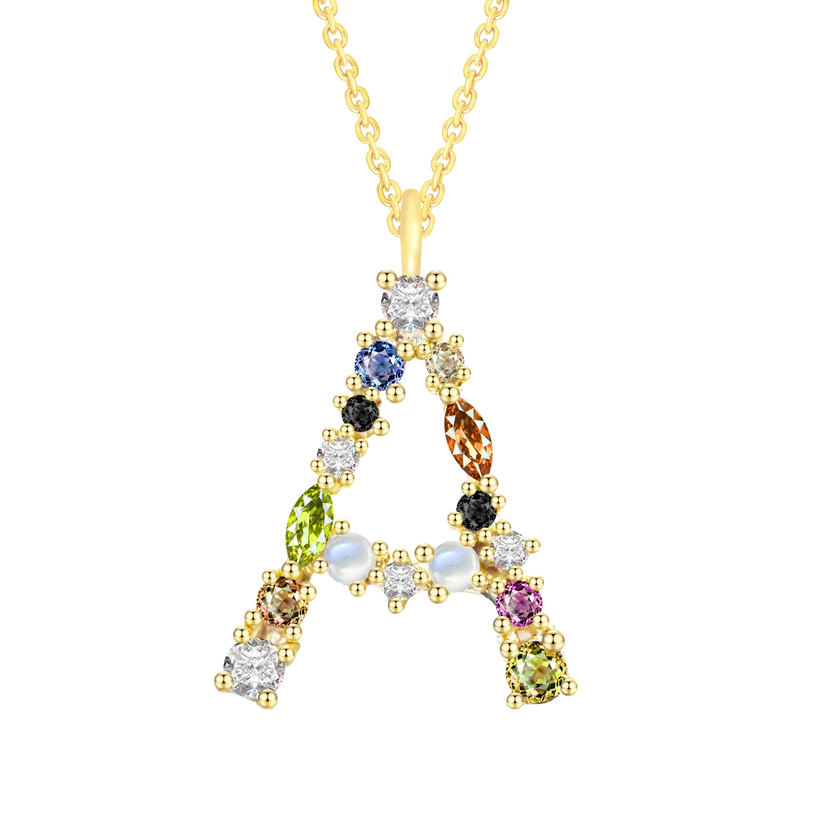 925 Sterling Silver 26 Letters Necklace For Women Diamond Pendant Brand Gold Necklace Colourful Crys