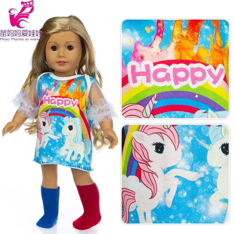 Nuevo Bebé muñeca ropa raibow horas calcetines vestido con ropa de la muñeca de 18 pulgadas chaqueta de piel de muñeca Juguetes