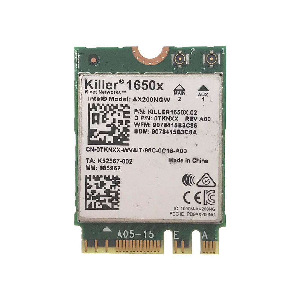 Для Killer Wi-Fi 6 AX1650 1650X AX200NGW 2,4 Гбит/с Двухдиапазонная карта Bluetooth 5,1 NGFF
