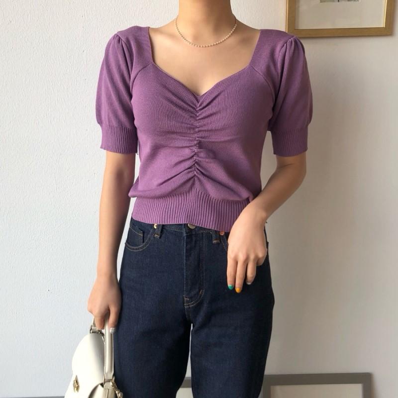 ZOSOL Women's South Korea INS Spring Elegant Slimming V-neck Shirred Slim Fit Puff Sleeve Short-sleeved Knitted Sweater T-shirt