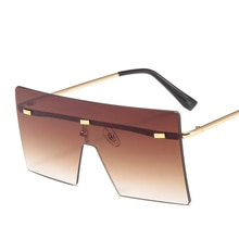 XaYbZc Oversized Brown Sunglasses Women Retro Vintage Sunglasses Luxury Brand Rimless Eyewear oculos