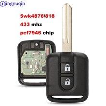 Jingyuqin 433MHz ID46 PCF7946 puce télécommande porte-clés pour Nissan Elgrand X-TRAIL Qashqai Navara Micra Note NV200 5WK4876/ 818