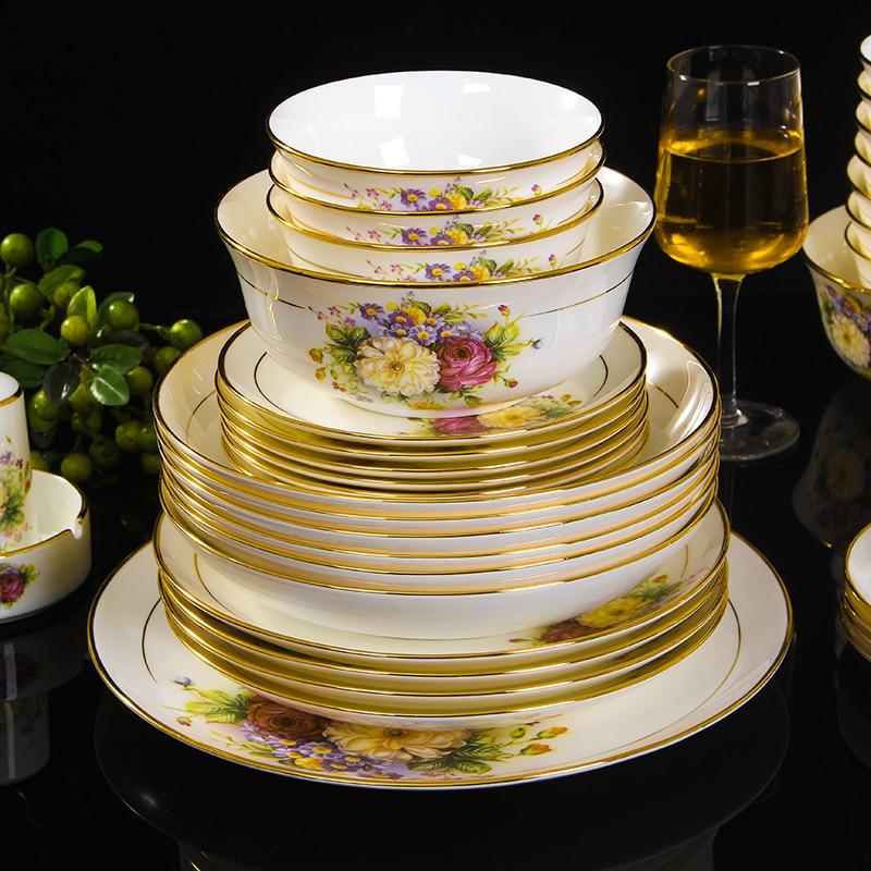 جينغدتشن-أطباق السيراميك العظام الصينية ، وعاء ، ملعقة شوربة ، طبق ستيك غربي مع أدوات مائدة افعلها بنفسك