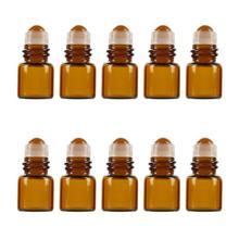 10 pièces 1ml verre ambre rouleau sur bouteille échantillon Test flacons dhuile essentielle avec rouleau rechargeable bouteille voyage cosmétique conteneur