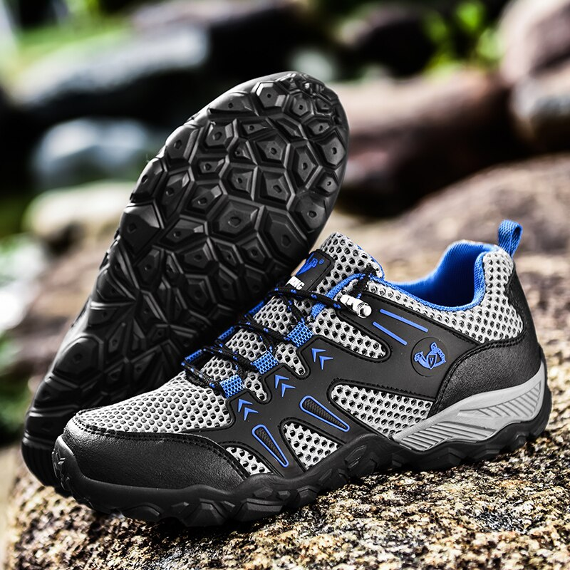 Summer Hollow Mesh Hiking Shoes Men Light and Comfortable Wading Cross-country Outdoor Non-slip Shock Absorption Sneakers
