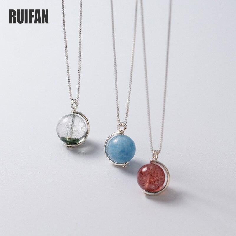 Ruifan, cristal de fresa/aguamarina/cristal fantasma verde, caja de Plata de Ley 925, cadena para mujeres, colgante, collares, joyería YNC127