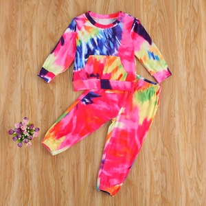 Tie-dye Children Wear Set Toddler Girls Long Sleeve T-shirt with Large Pocket Elastic Waist Trousers for Spring Fall 2Pcs Set