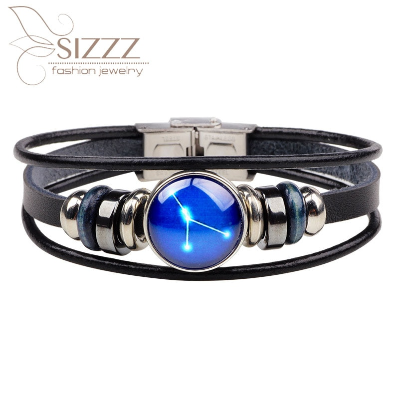 Nova jóia criativa doze constellation pulseira & pulseiras de couro tecido fivela de vidro