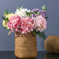 luxury 45cm hydrangea branch with green leaves real touch artificial flowers home table office wedding decoration