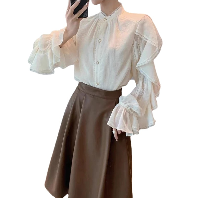 Women Skirt Set Designer Autumn Vintage Elegant Two Piece Set Korean Fashion Set France Long Sleeve Blouses Retro Midi Skirt