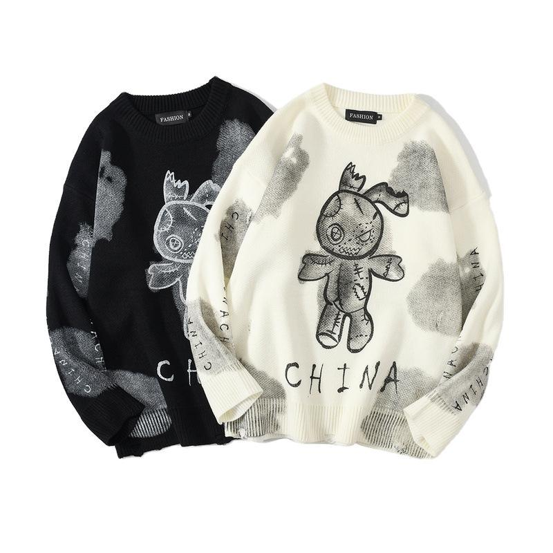 Hip Hop Sweater Pullover 2020 Men Graffiti Streetwear Painting Embroidery Knitted Sweater Retro Vintage Autumn Sweaters Cotton