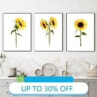 Affiches de peinture sur toile  fleur de soleil  petale jaune  tableau dart mural pour decoration de salon  decoration de maison