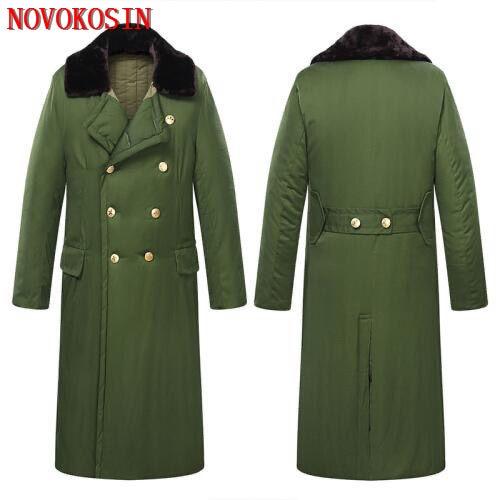 Army Green Men Long Cotton Overcoat Security Guard Winter Warm Thicken Lengthen Women Velvet Padded Outdoor Wind Resistance Wear