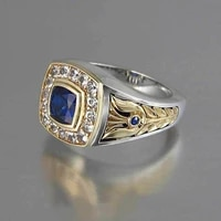 ustar vintage square blue cz men rings goldsilver color carving finger wedding rings for men jewelry male anel party