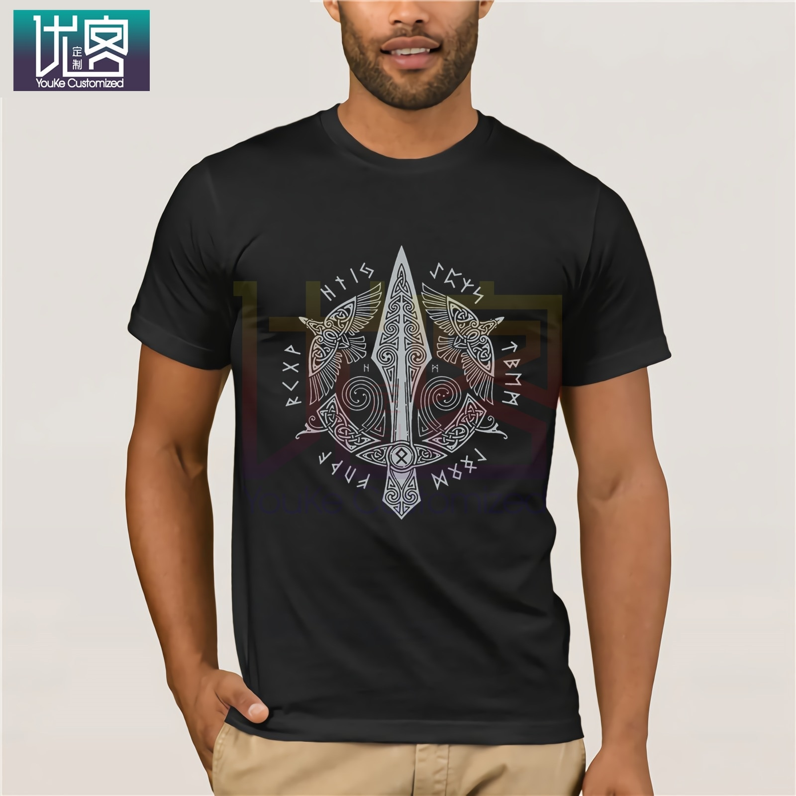 Gungnir Vikings Men 100% Cotton Men Slim Fit Short Sleeve T-Shirts Printed Men Cool Odin T-Shirts Plus Size for Men Tops