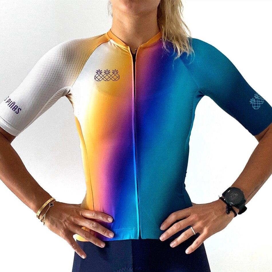 Camisa de Ciclismo para Mulheres Verão ao ar Tres Pinas Camisas Manga Curta Secagem Rápida Camisa Maillot Livre Equipe Roupas Bicicleta Topo Ropa Ciclismo