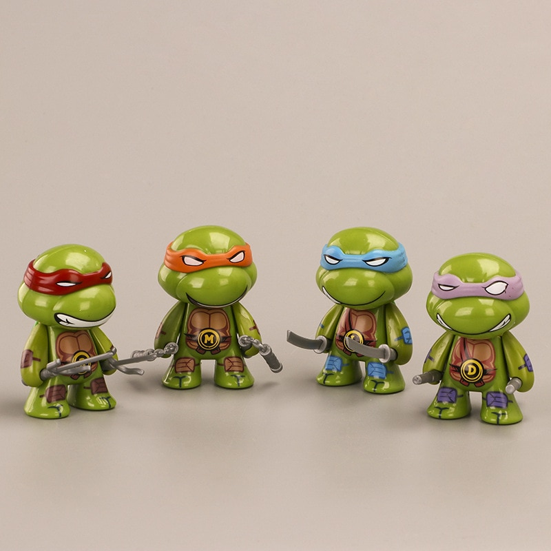 Movie Characters 4Pcs/set Action Magic Tortoise Figure Turtles Articulated Doll Toy Figure Anime Decoration Model Limited Gift 4pcs magic hair elf trolls ugly baby troll bobby princess base model toy car decoration ornaments