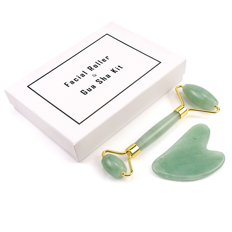 Double Heads Facial Massage Roller Guasha Board set natural Jade Stone Face roller Lift Body Skin Relaxation Slimming Beauty Nec