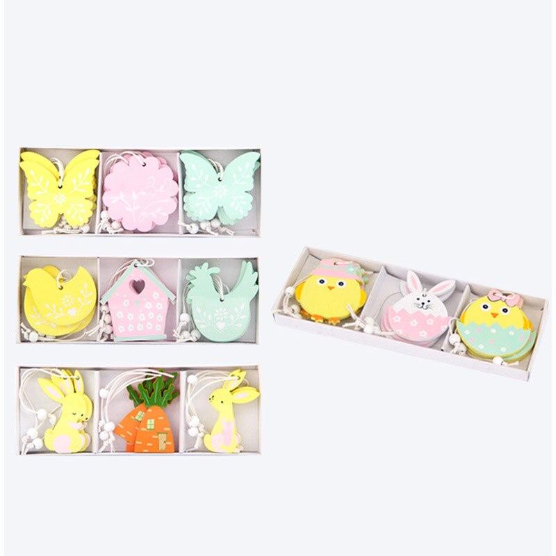 Милый кролик счастливые пасхальные украшения для дома деревянный Пасхальный кролик пасхальное яйцо ленты украшения для самодельного изготовления орнамент товары для вечеринок
