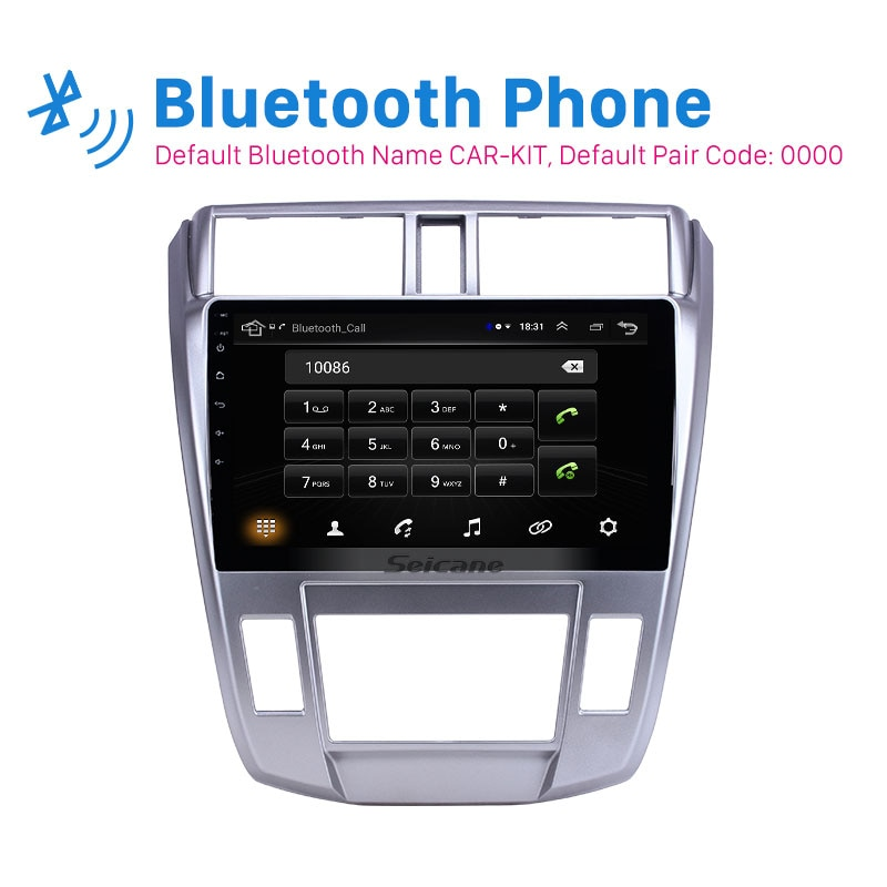 Seicane 10.1 inch car GPS Stereo Radio Android 9.1 for 2008-2013 Honda City Auto A/C  2.5D screen support Carplay Rear camera