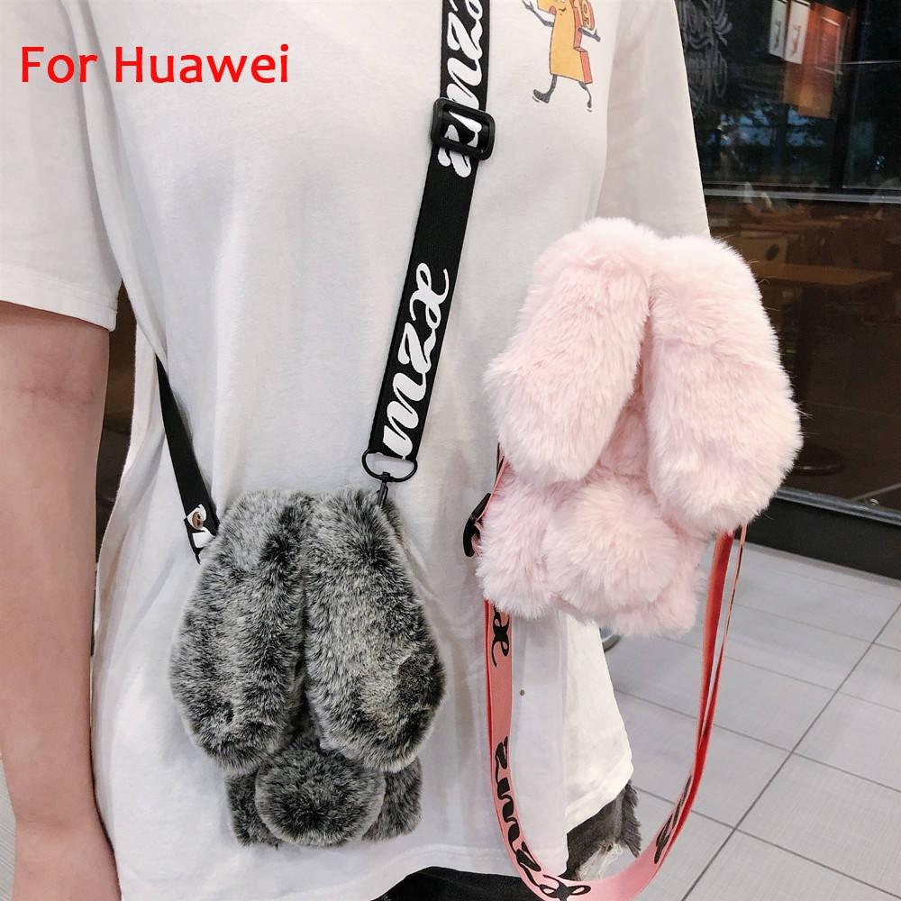 Кроссбоди 3D чехол-Кролик для huawei P20 Lite регулируемый плечевой ремень ожерелье ремешок Меховой чехол для телефона для huawei P20 Pro Capa