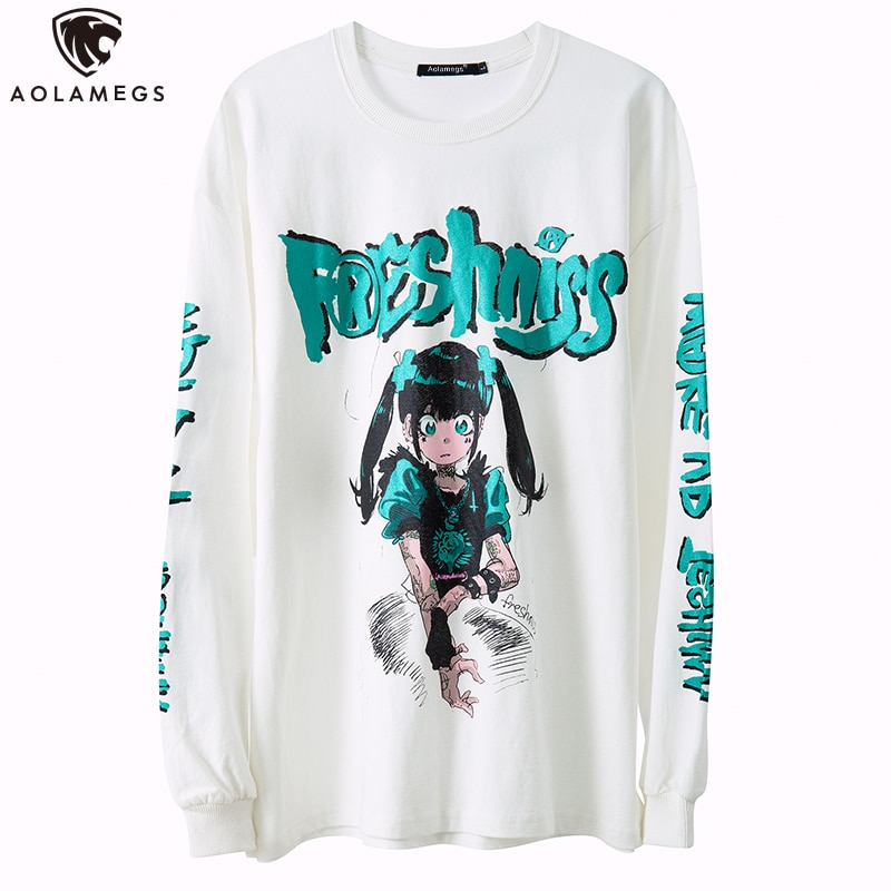 Sudadera Aolamegs Harajuku con estampado de Anime japonés para hombres y niñas, Jersey fino para parejas, ropa de calle de gran tamaño Hip Hop para otoño