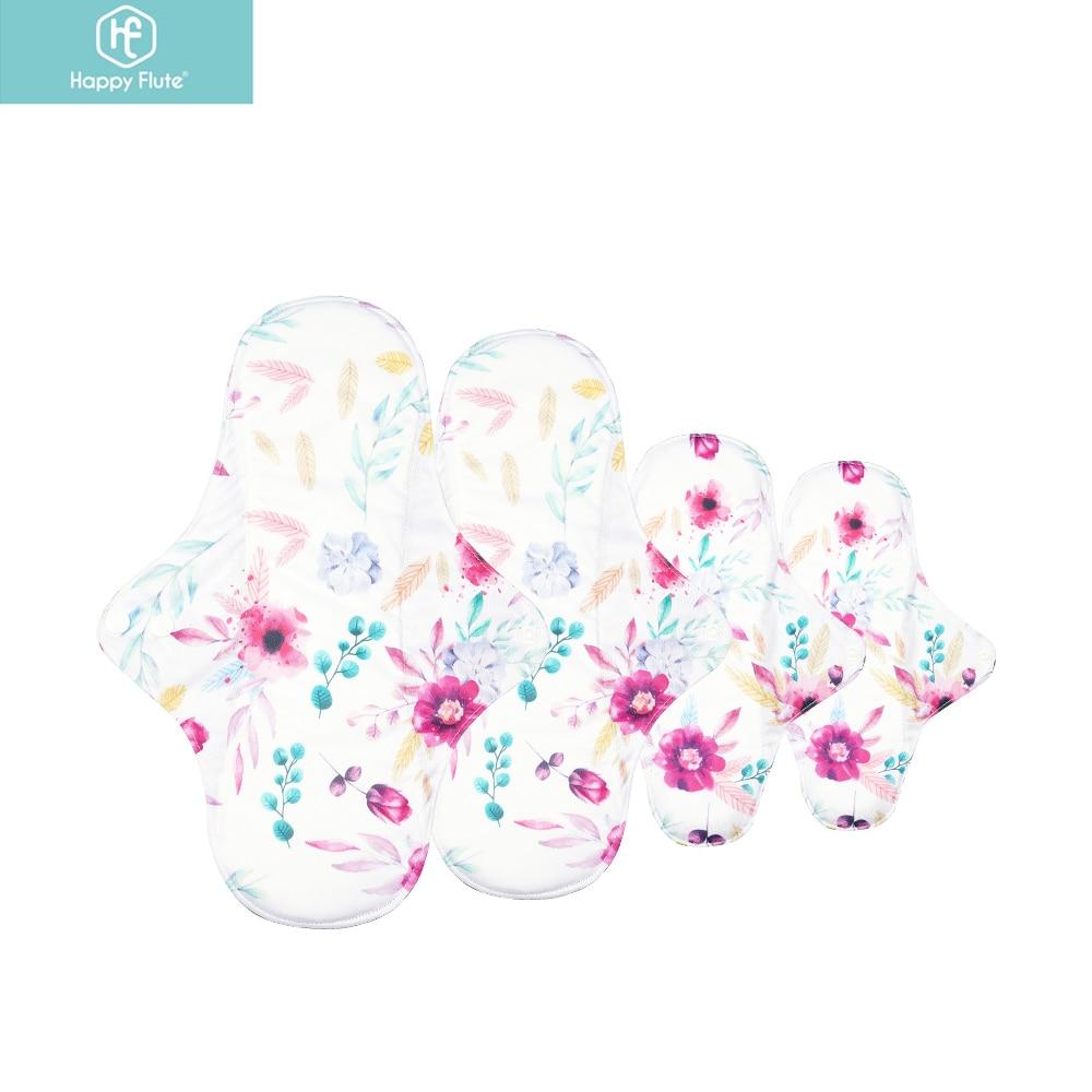 Прокладки для менструаций HappyFlute 4 шт./компл., бамбуковый уголь, водонепроницаемые моющиеся прокладки для гигиенические прокладки многоразо...