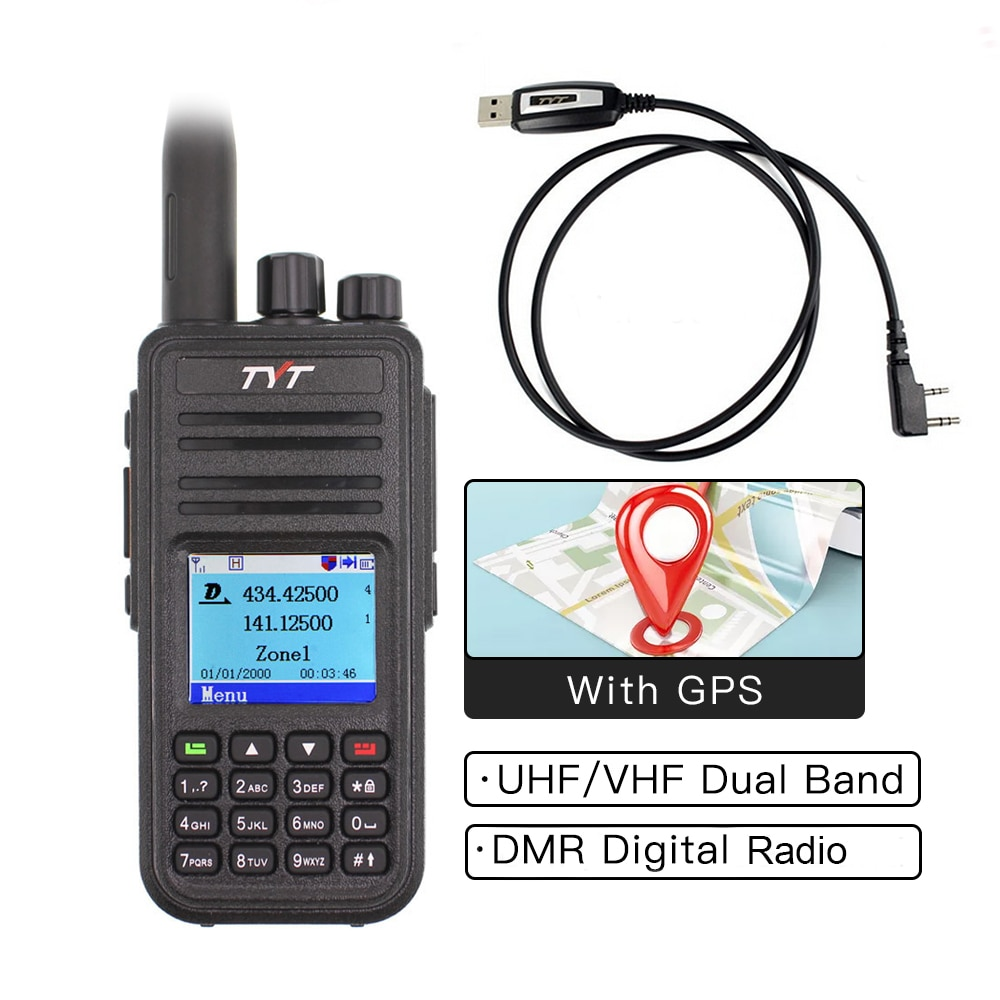 TYT MD-UV380 اسلكية تخاطب ثنائي الموجات راديو MD-380 VHF UHF MD380 الرقمية DMR اتجاهين راديو التوقيت المزدوج Dlot الإرسال والاستقبال