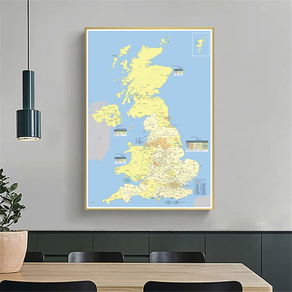 60*90cm Detailed Regions Map Of The United Kingdom Canvas Painting  Wall Art Poster School Supplies Living Room Home Decoration