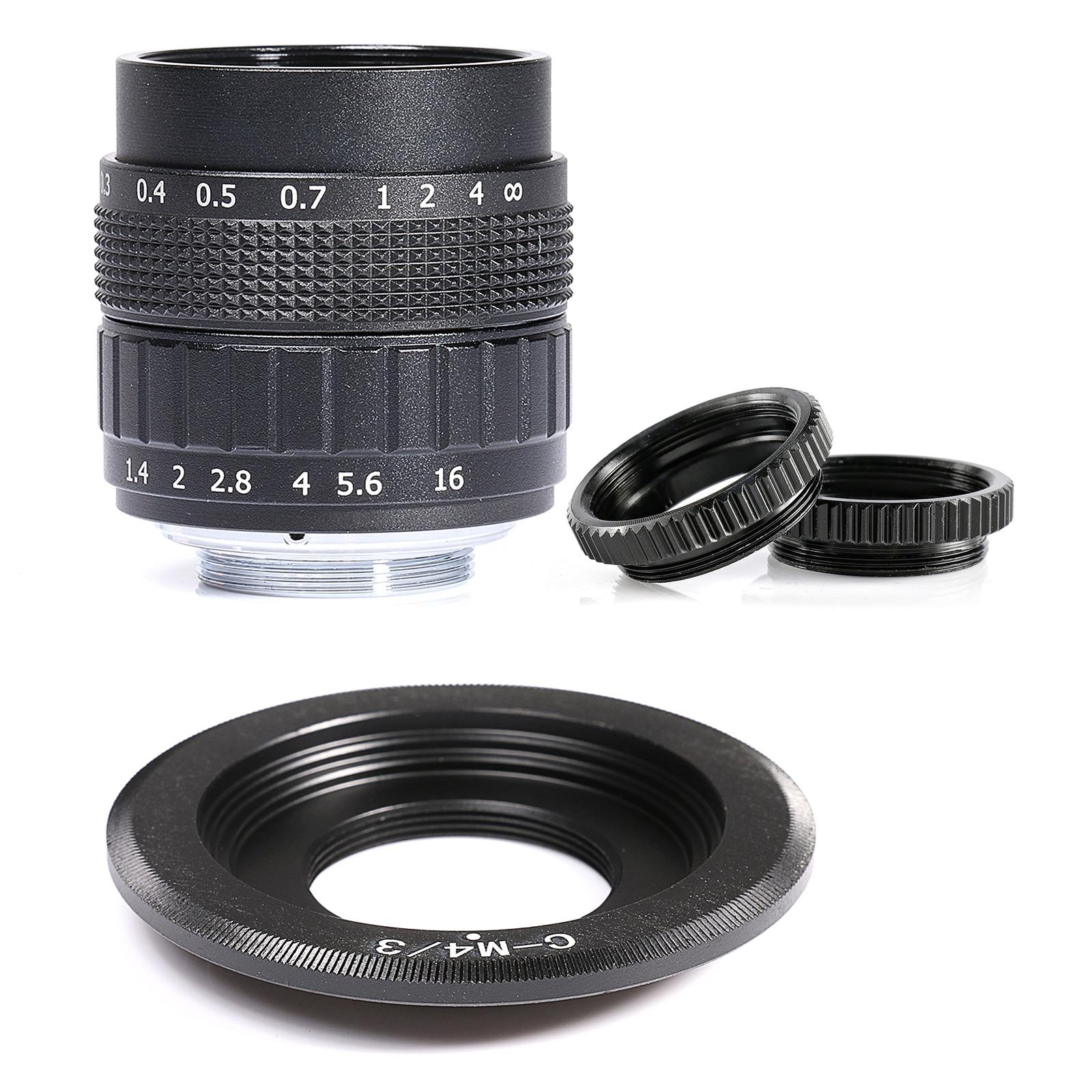 Fujian 50mm f/1,4 APS-C lente CCTV + anillo adaptador + 2 anillo Macro para P anonic/O linpus Micro4/3 M4/3 cámara sin espejo