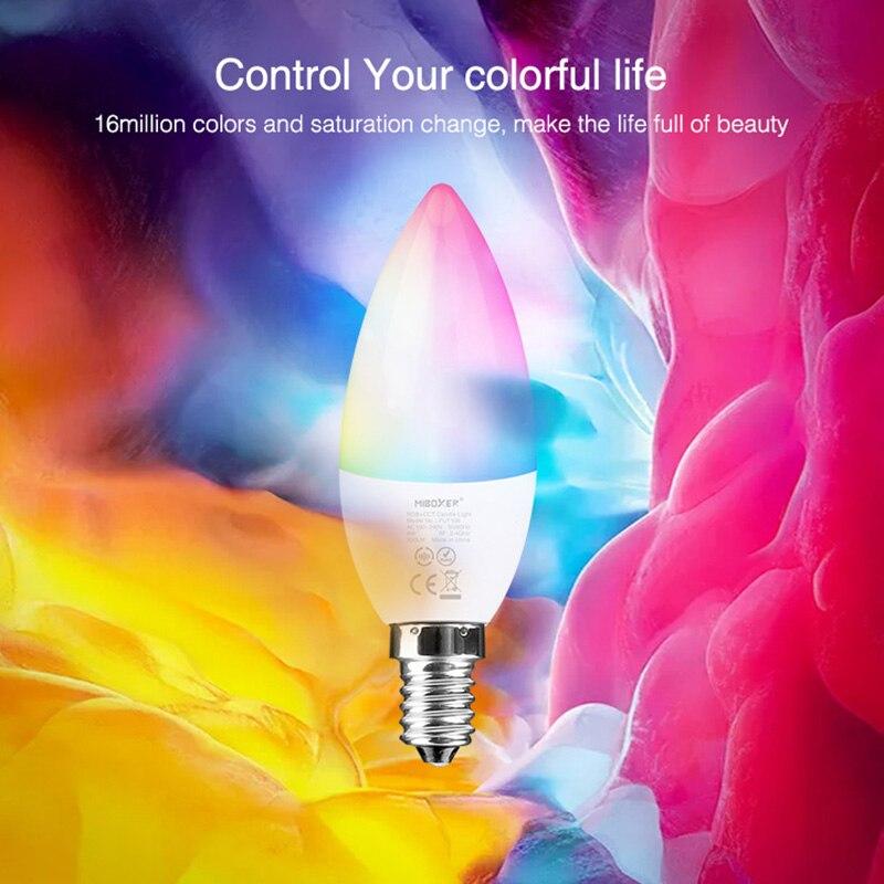 10 pieces Miboxer FUT108 E14 4W LED Candle Light RGB+CCT Spotlight Bulb lamp Decorative lights for Bedroom room lighting