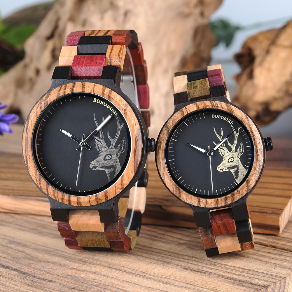 Reloj Mujer BOBO BIRD Wooden Couple Watch Men Women Valentine Birthday Anniversary Custom Wristwatch