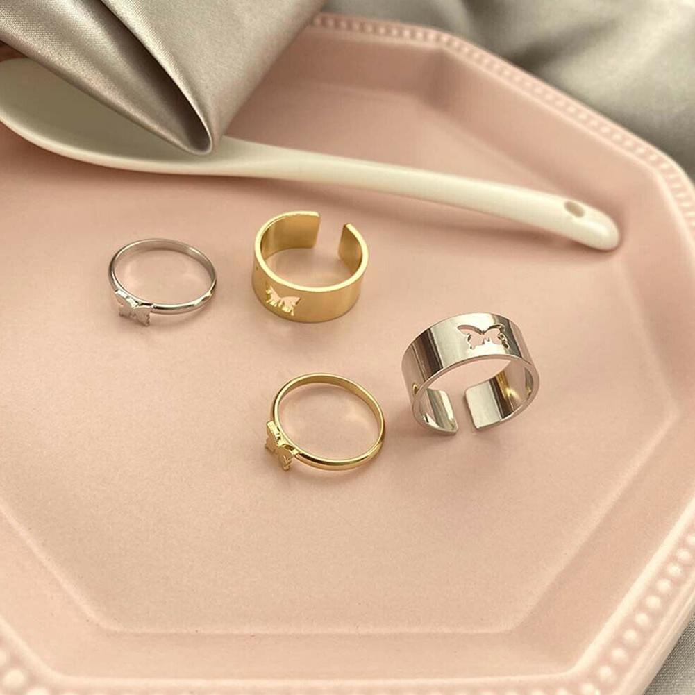 2-шт-компл-Ретро-стиль-Бабочка-вогнутые-кольца-Дамская-мода-обручения-пара-колец-Регулируемые-кольца-комплект-ювелирных-изделий-обручал