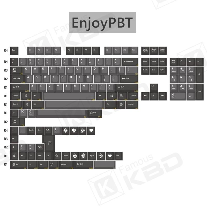 Enjoy ypbt-لوحة مفاتيح ABS ذات لونين ، مادة dolch ، حقن ميكانيكي ، ارتفاع الكرز 153