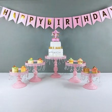 mirro Iron Crystal Pendant Cake Stand Mirror Surface Wedding Dessert Tray Cupcakes Fruits Cookies Pan Display Serving Rack