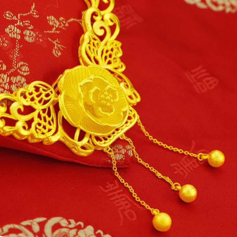 Retro Yellow Gold Color Chain Necklace for Bride Women Wedding Engagement Jewelry Delicate Flower Pearl Fine  Jewelry Gifts 2021