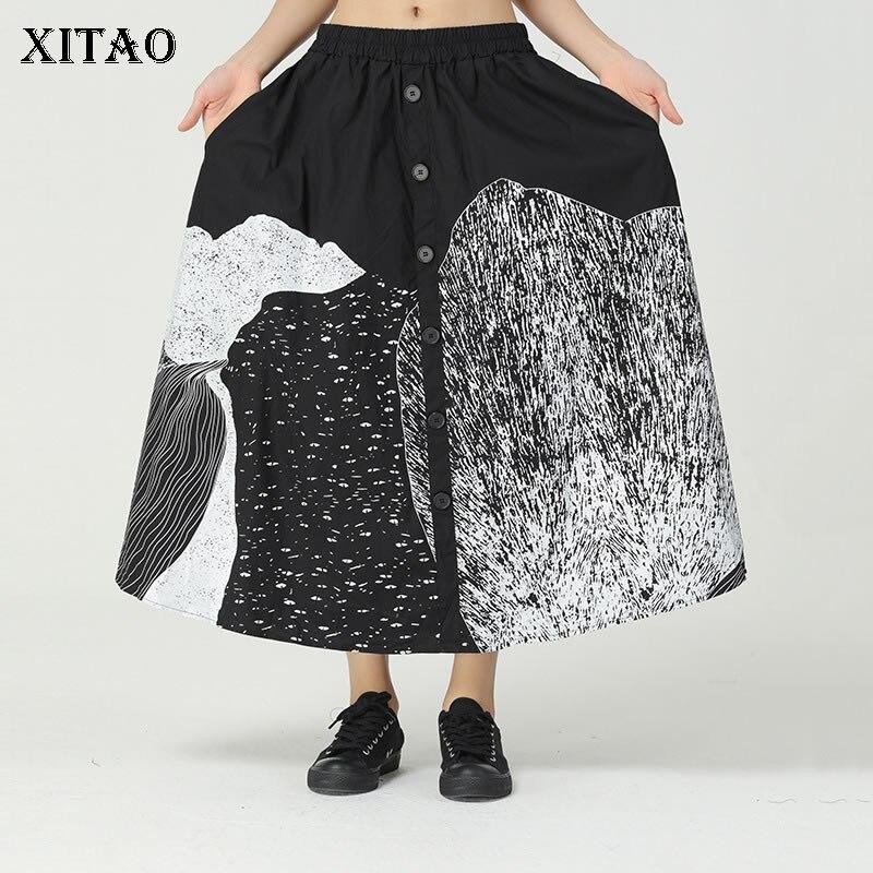 XITAO-تنورة مطبوعة غير رسمية للنساء ، نمط أرجوحة ، خصر مرن ، زر ، جيب كبير ، أنيق ، ZY4287