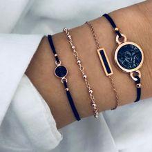 4pcs/set Boho Round marble Bracelets & Bangles for Women Bohemian Black String Rope Charm Bracelet Set Female Jewelry Gift