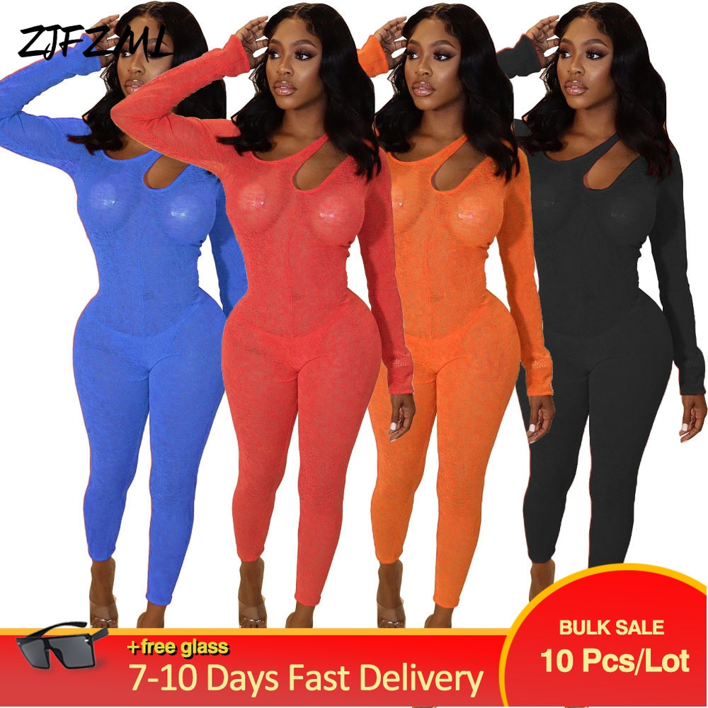 Bulk Items Wholesale Lots Unique Design Rompers Womens Jumpsuit Hollow Out Shoulder Full Sleeve Transparent Skinny Club Outfit