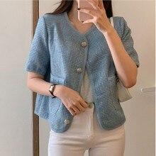 CMAZ 2021 Summer O Neck Cardigan Women Loose Short Sleeve Button Sweater Fashion Casual Korea Style