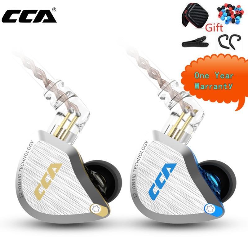 Новая Металлическая гарнитура CCA C12 5BA + 1DD Hybrid 12 шт. HIFI бас наушники в ухо монитор наушники с шумоподавлением KZ E10