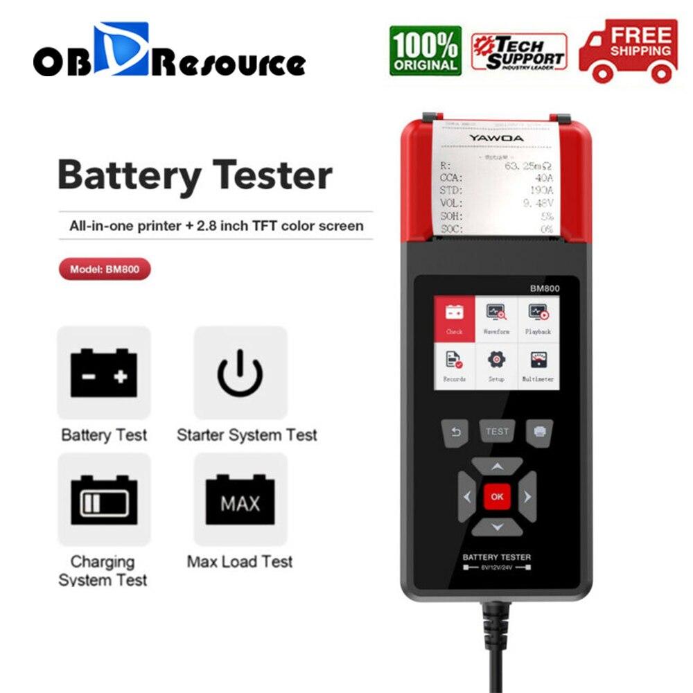 Car Battery Tester 6V 12V 24V With Printing Function Diagnostic Battery Tester Analyzer Vehicle Cranking Charging Scanner Tool