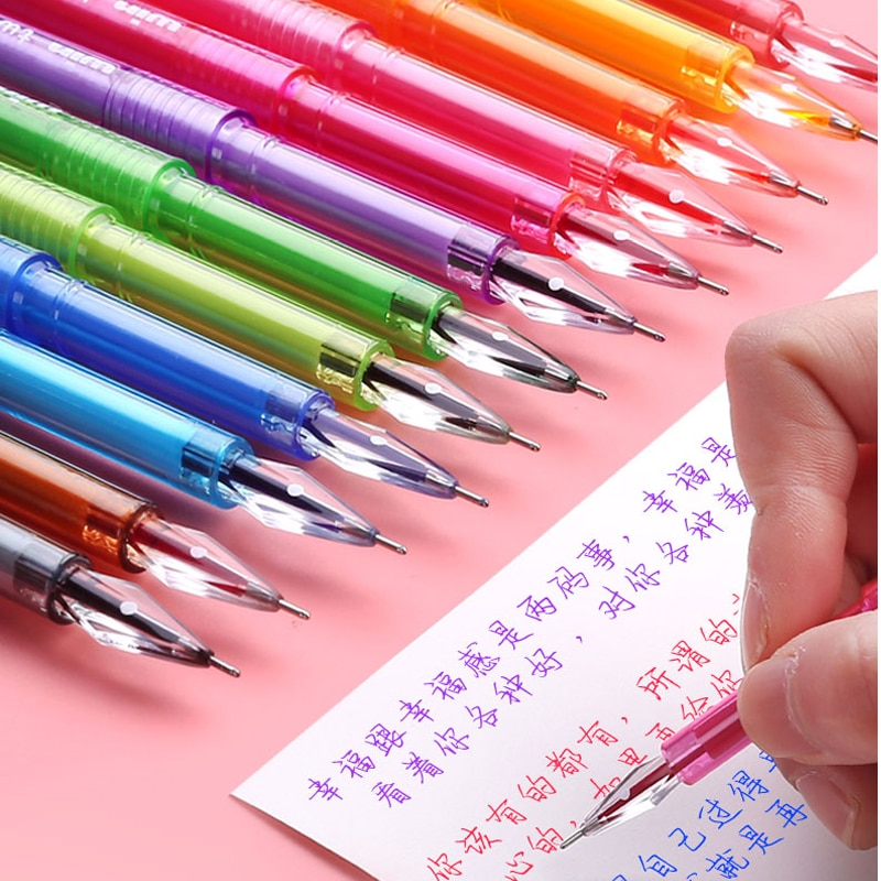 12 unids/caja Kwaii Gel Pen Set 0,5mm diamante punta fina Papeleria lápices de Gel pluma escolar lindo fetitre Dessin útiles escolares