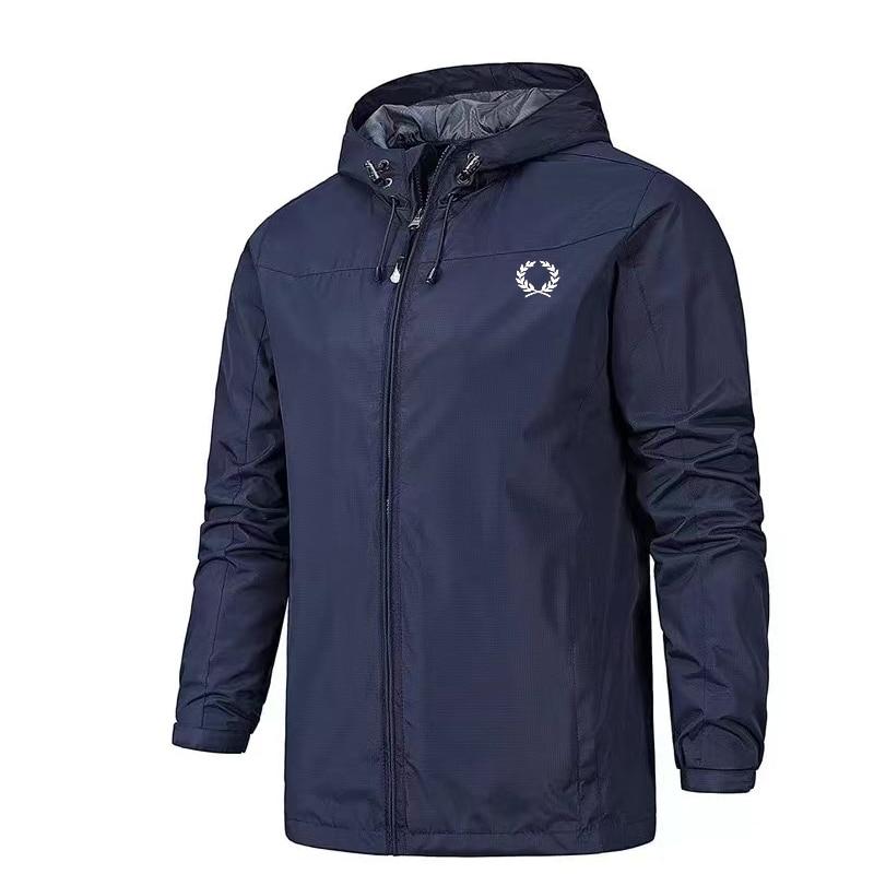 Hot sale Jacket wheat ears logo printin Men's Lightweight Hooded Zipper Waterproof Coat Solid Color Fashion Men Outdoor jacket